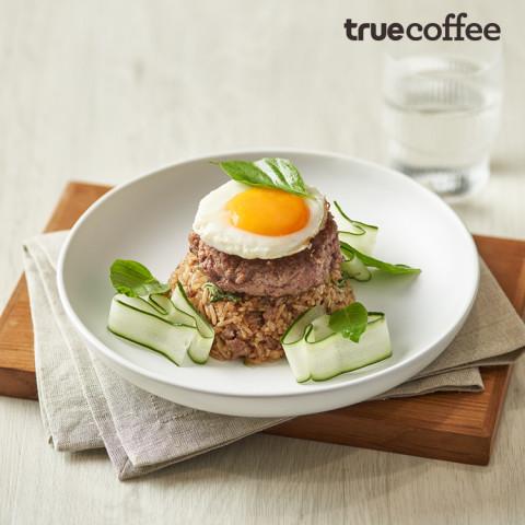 Ka-prao Fried Rice Beef Burger with Quail Egg